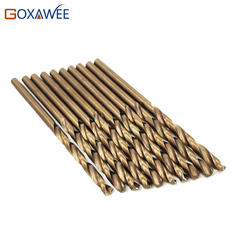 GOXAWEE 10PCS M35 HSS Drill Bits For Metal Stainless Steel Drilling For Dremel Tool Accessories Drilling Bits For Metalworking 10 pcs 4 7mm hole saw din338 hss carbide twist drill bits metalworking accessories for drilling holes in stainless steel metal