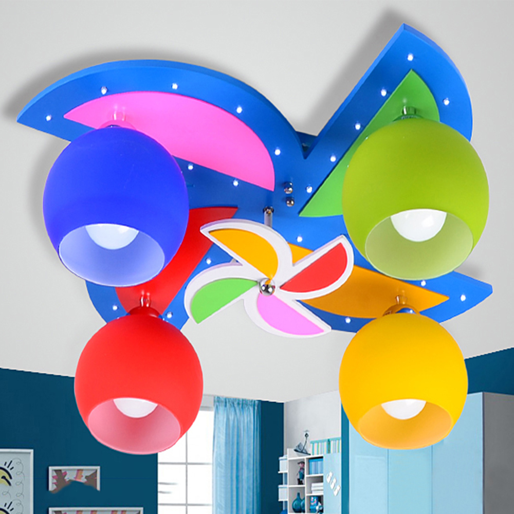 windmill wood led lamp kids ceiling LED lights E27 Led 110V 220V flush mount ceiling light