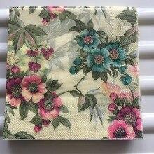Decuage papel guardanapo vintage para casamento, lenço de papel elegante flor azul vermelho rosa festa de aniversário bonito decoração 20