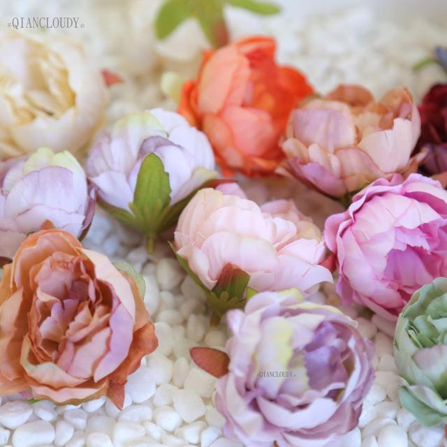 2 pieces DIY Retro silk Artificial flowers European Peony bud flower heads for Wedding Garland D25