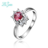 L Zuan S925 Fashion Sterling Silver Jewelry Round Shaped Natural Pink Tourmaline Rings For Women Party