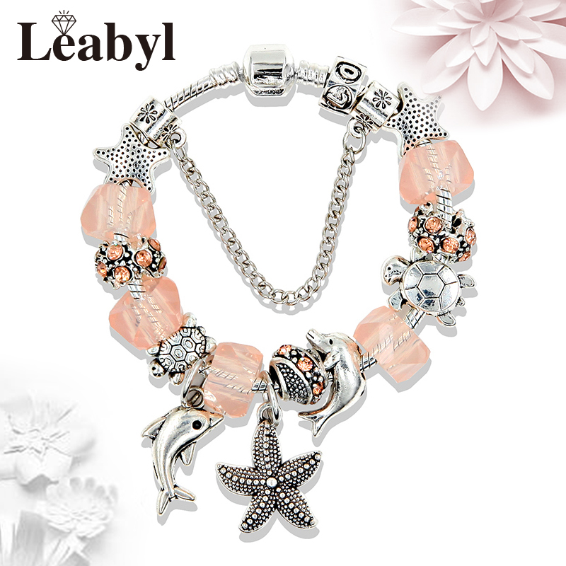 2017 Fashion Ocean Style Starfish Dolphin Pendant Charm Irregular Crystal Bead Pandora Bracelets & Bangles Mujer DIY Jewelry