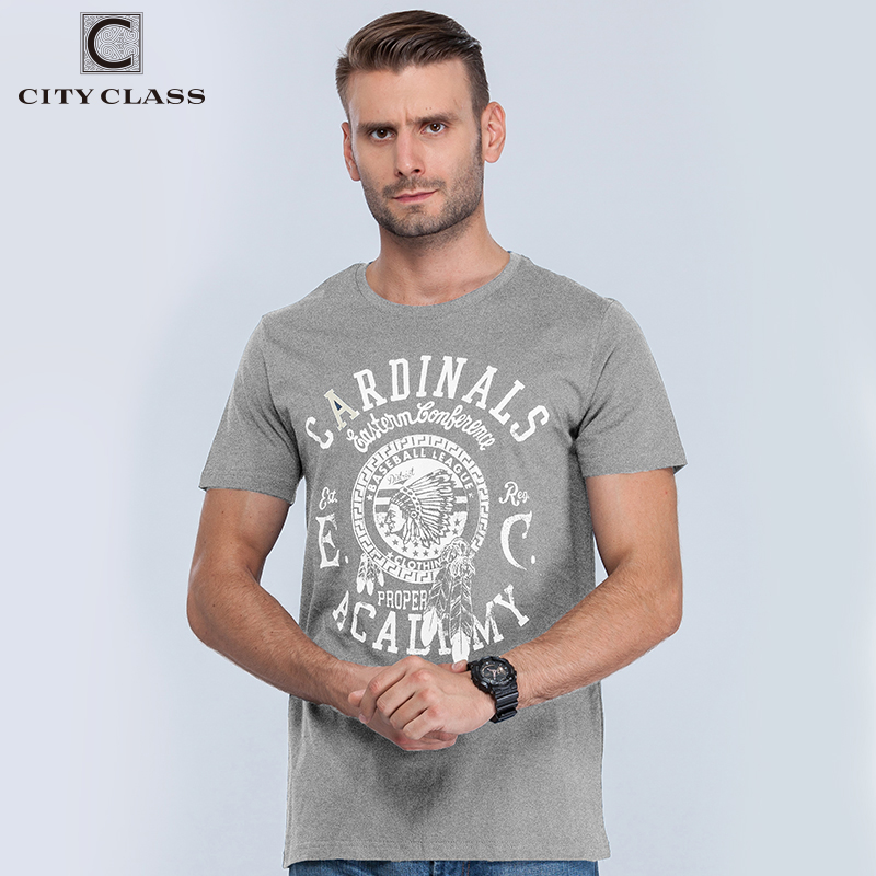 City Class Hip Hop Grey Color Print T-Shirts Letters  T Shirt Hot Sale Cotton O-neck Tshirts Mens Fashion Brand Tops Tees 1962G