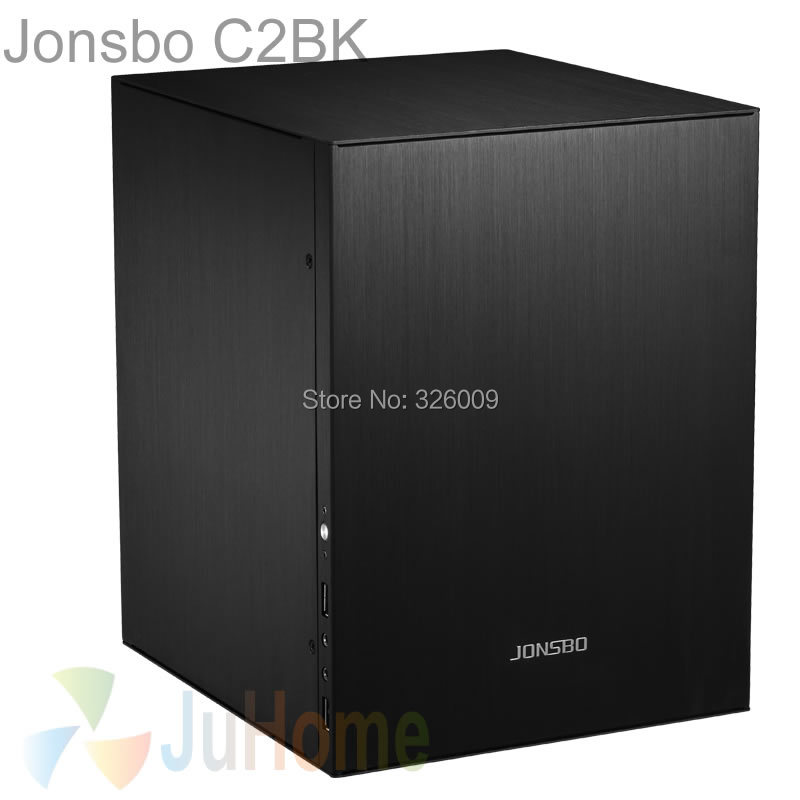 Jonsbo C2 Noir C2BK, HTPC ITX Mini boîtier d'ordinateur en aluminium, support 3.5 ''HDD, USB3.0, home cinéma ordinateur, D'autres C3 V4