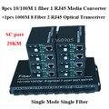 8pcs100M individual fibra monomodo convertidor de medios 1 puerto sc óptico 1 RJ45 + 1 unids 1000 M 8 de fibra de 2 RJ45 transceptor de fibra óptica