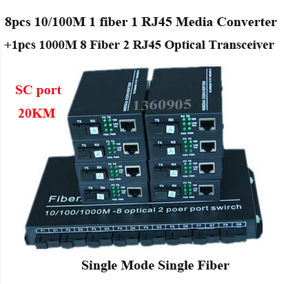 8pcs100M single fiber single mode media converter 1 sc optical port 1 RJ45  + 1pcs 1000M 8 fiber 2 RJ45 fiber optic transceiver new single fiber single mode optical transceiver 10 100m 1000mbps sc port 20km 2ch fiber 8ch rj45 fiber optical media converter