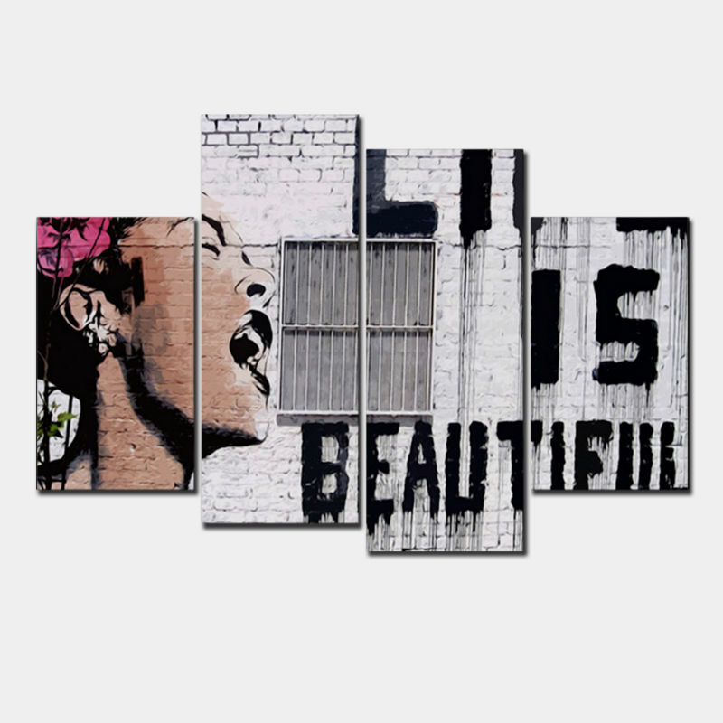 4 Pcs/Set Banksy Art Life Is Beautiful wall pictures vintage poster canvas wall art oil painting
