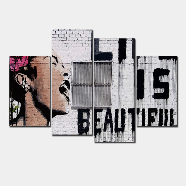 4 Pcsset Banksy Art Life Is Beautiful Wall Pictures Vintage Poster