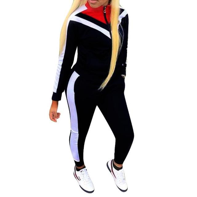 Black and white 2 pieces Set Hooded Tracksuits Womens Casual Sport Long Sleeve Sweatsuit women sets femininos plus size