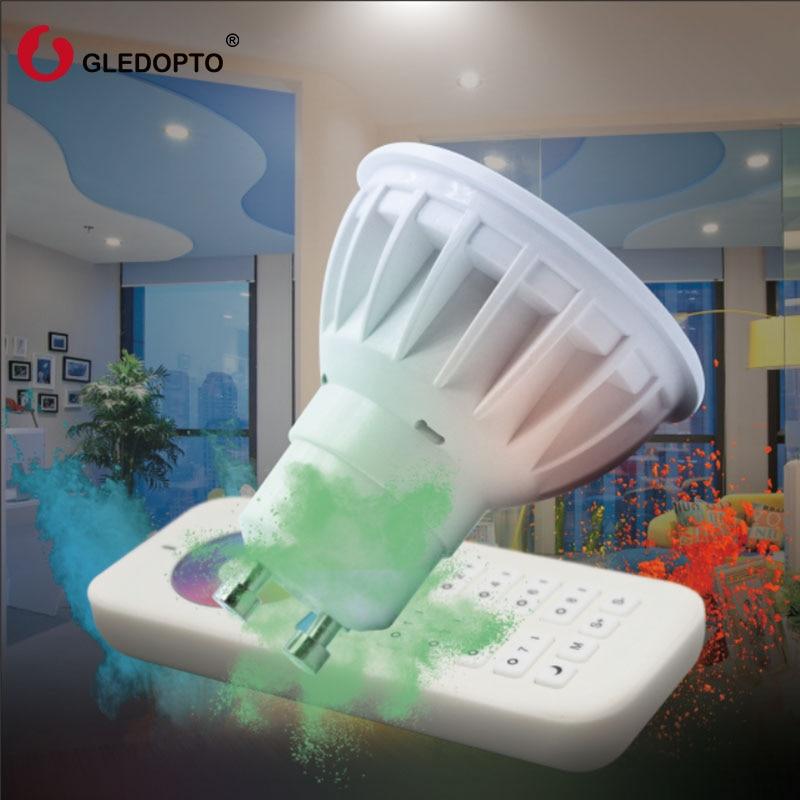 GLEDOPTO 2.4g 4W Gu10 LED Spotlight Bulb Lamp LED 8-zone remote controller Wireless Dimmable RGBW LED light AC100-240V gu10 led