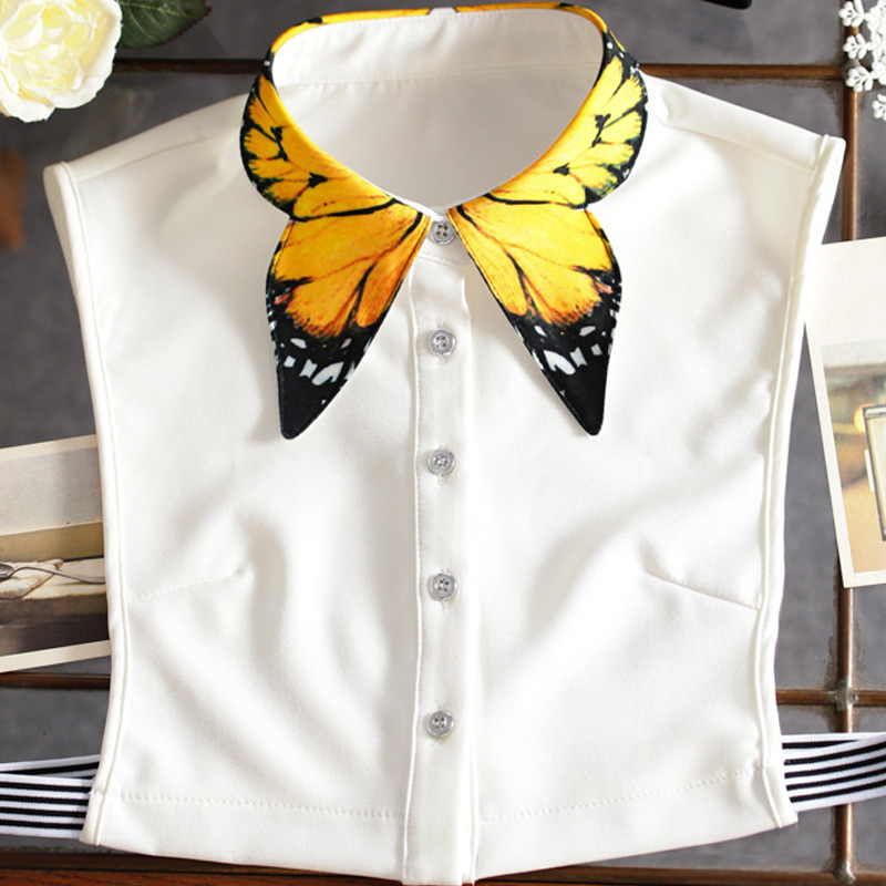 Ing szuper túlzott hamis gallér ing pulóver kiváló minőségű kézzel festett sárga pillangó ing levehető le gallér