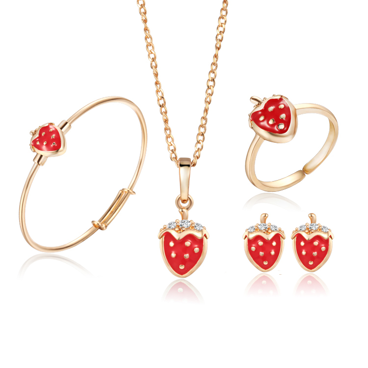 Gold Color Kids Jewelry Sets Strawberry Pendant Necklace Bangle ...
