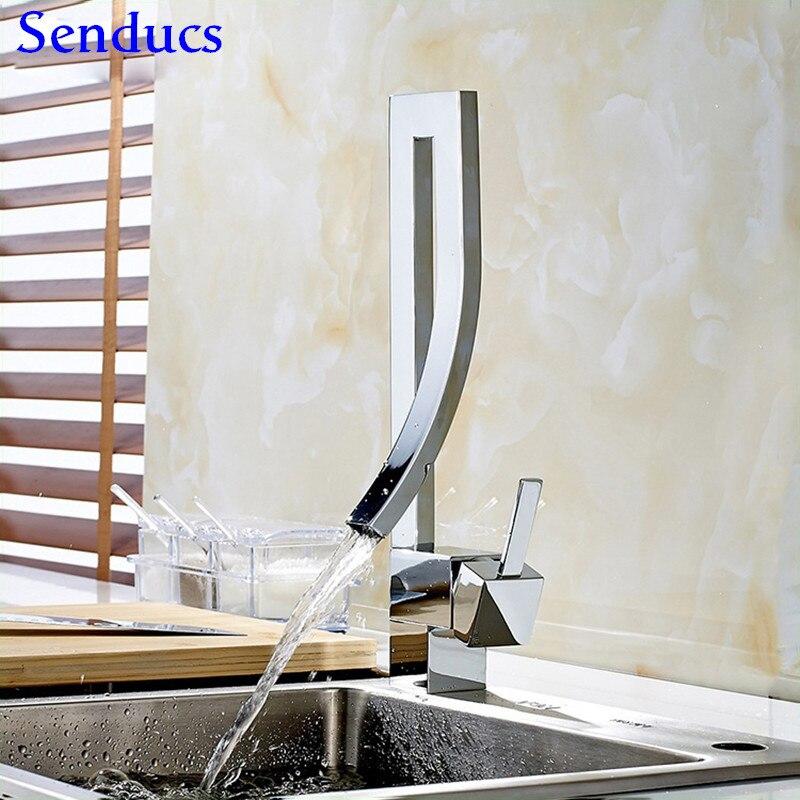 Senducs Creative carré cuisine robinet qualité Chrome poli cuisine mélangeur robinet pont monté chaud froid Chrome robinets de cuisine
