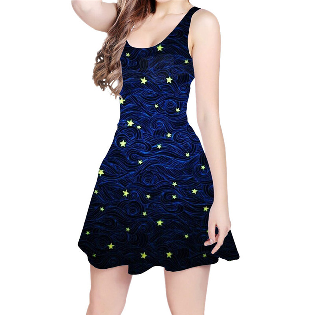 2bbff6dd78 Stars Galaxy Space Rocket 3D All Over Printed Skater Dress Funny Hipster  Fashion Women Dress Dropship US Size