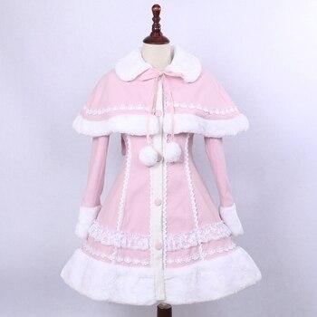 Lovely Pink Wool Hooded Sweet Lolita Coat Girls Winter Coats Brand Long Winter Coats with Cap