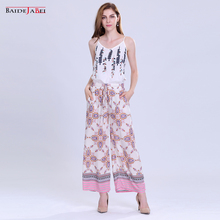 BAIDEJIABEI calças Cintura Elástica Verão Outono Plus Size Roupas femininas Casual impresso além de Calças das senhoras calças Compridas Soltas