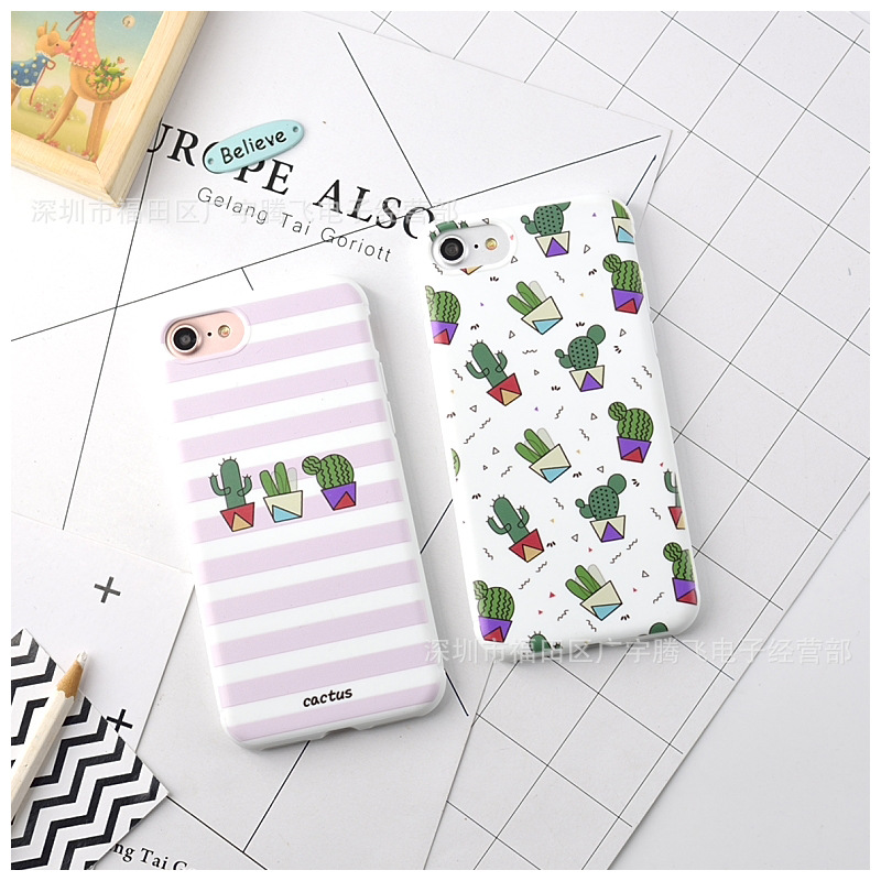 Cute Cartoon Cactus Korean Phone Case For iPhone 7 7 Puls 6 6S 7 8 Puls Cases Fashion White Soft Silicone Back Cover Coque Funda