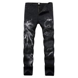 Image 3 - Sokotoo גברים של גולגולת שטן טפרים של 3D מודפס ג ינס Slim ישר למתוח ג ינס מכנסיים כחול שחור