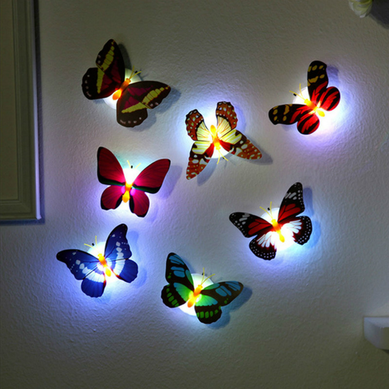 20pcs Creative Colorful Butterfly Night Light LED Lights Night Atmosphere Lights Can Be Pasted Home Desktop Wall Decoration