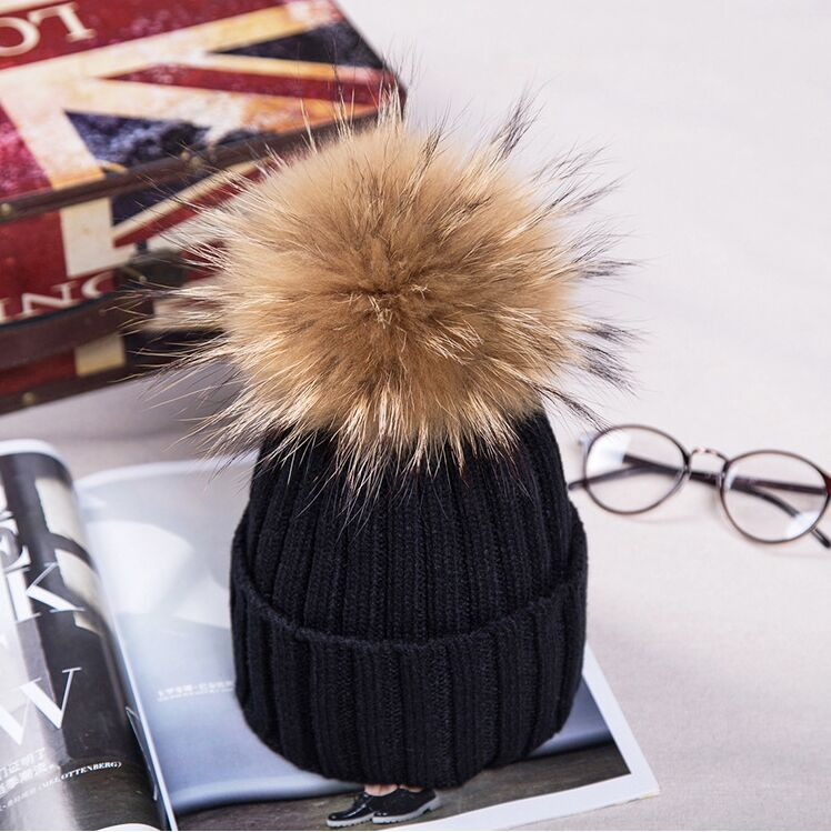 2016 new real Raccoon fur pom poms wool rabbit fur knitted hat Skullies winter hat for women girls hat feminino beanies hat