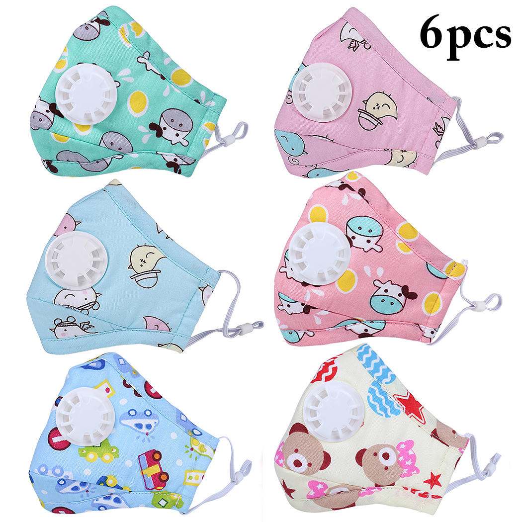 6pcs Cartoon Children PM2.5 Mouth Mask Kids Breath Valve Anti Haze Breathable Mask Anti Dust Mouth-Muffle Respirator Face Masks