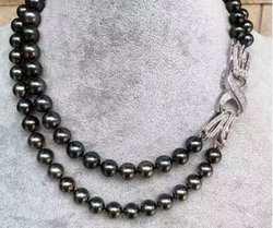 Бесплатная доставка> Благородные Ювелирные изделия двойные нити 9-10 мм пресноводный черный зеленый жемчуг ожерелье 17,5-18,5 дюймов
