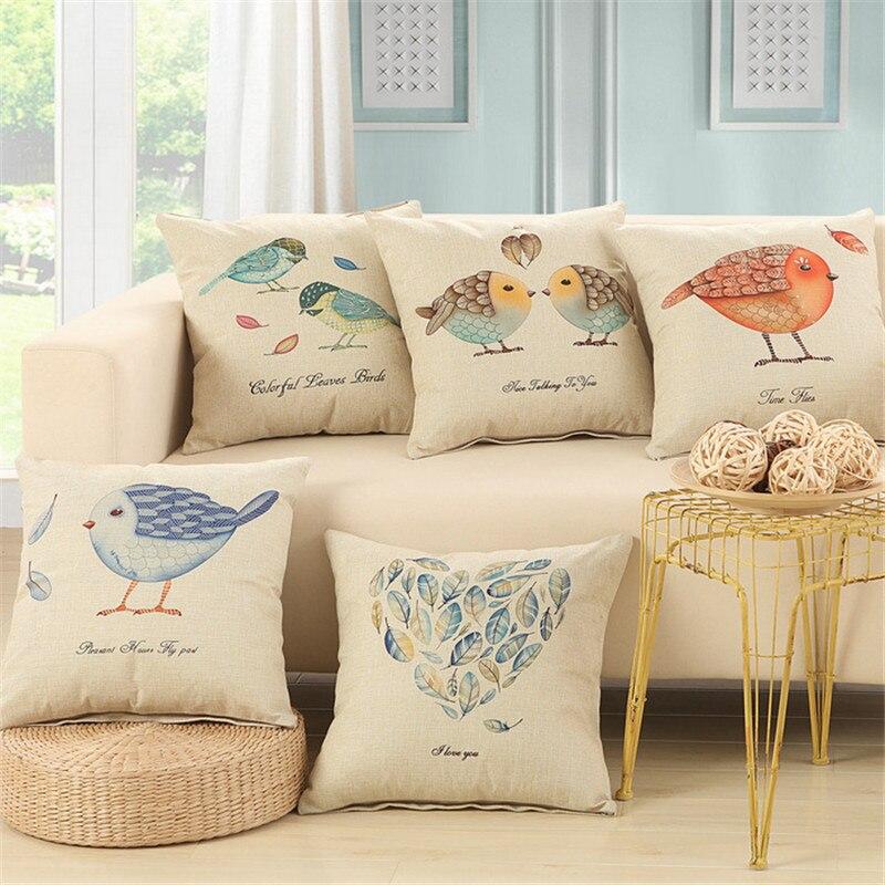 Aranyos madár nyomtatás Pamut vászon kanapé párna Embrace párna 45x45cm / 17.7x17.7 '' dobja dekoratív párna Otthoni textil ülőpárna