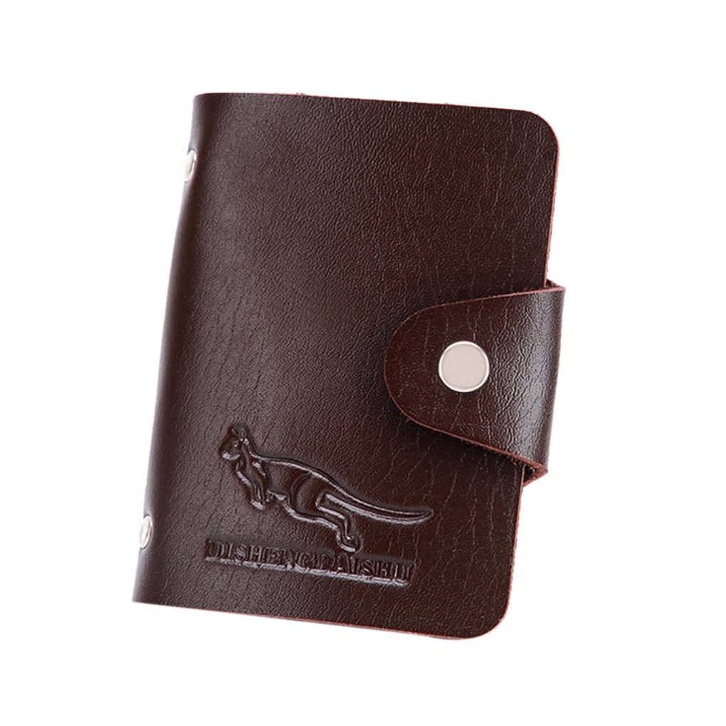 Men'S Pu Organizer Pouch Case Leather Wallet Paper Money Clip Card 10 Slots
