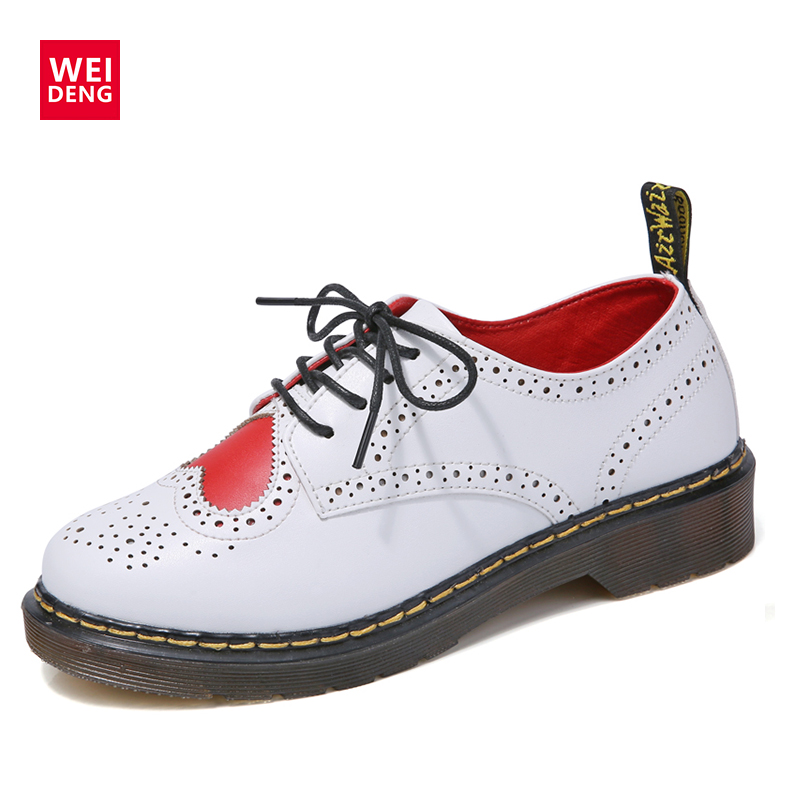 WeiDeng Cute Genuine Leather Superstar Oxfords Boots Brogue Ankle Boot Lace Up Classic Casual Low Heels Sweet Women's Flat Shoes brogue boots two tone