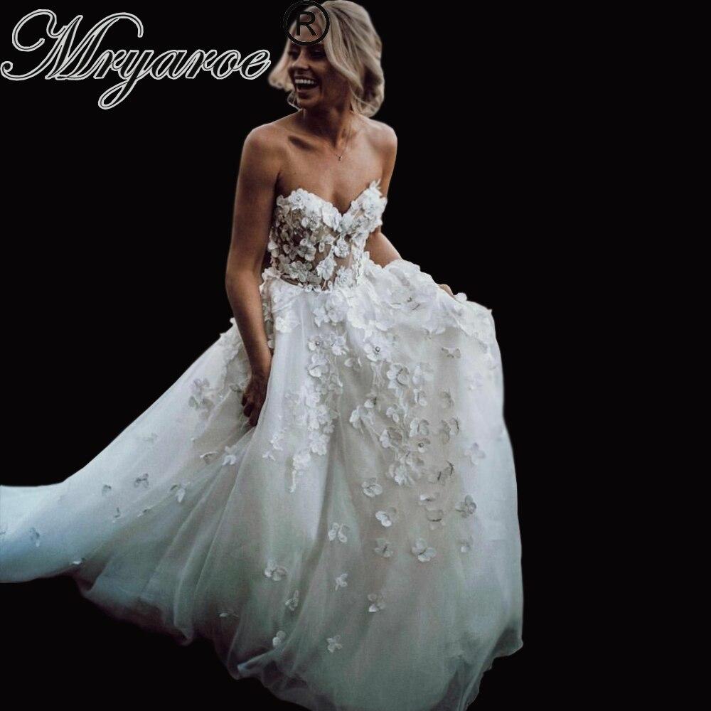 Mryarce Classic Wedding Dress 2019 Luxury 3D Lace Flowers Flattering Organza Sleeveless Bridal Gowns