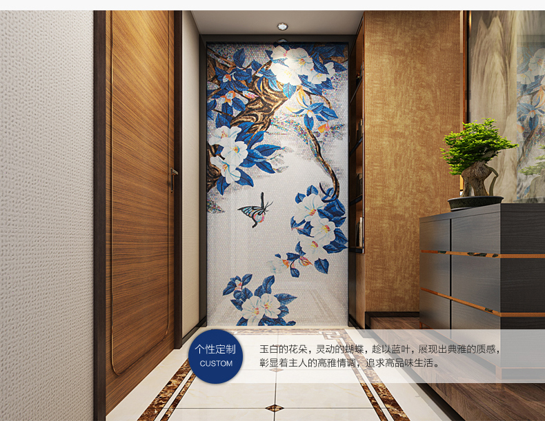 unique design home living room bathroom hotel interior wall deco glass mosaic custom handcraft blue tile backsplash butterfly on aliexpresscom alibaba