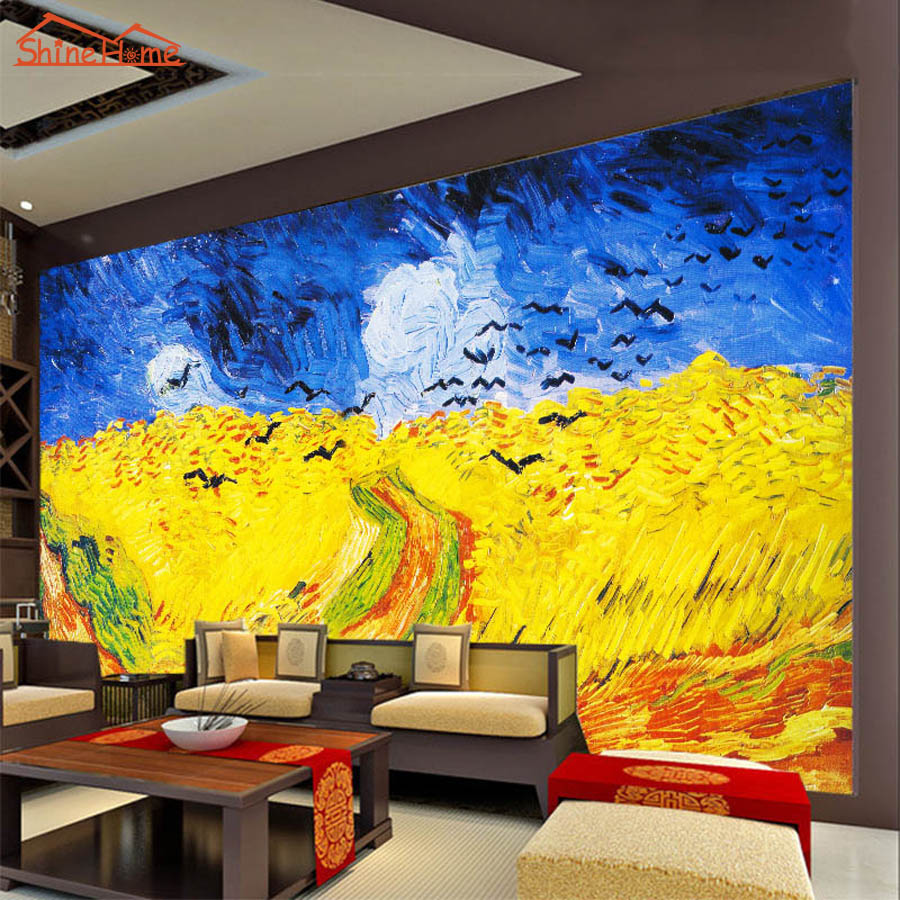 Large van gogh oil painting wheat field with crows 3d room for Wallpaper for large walls