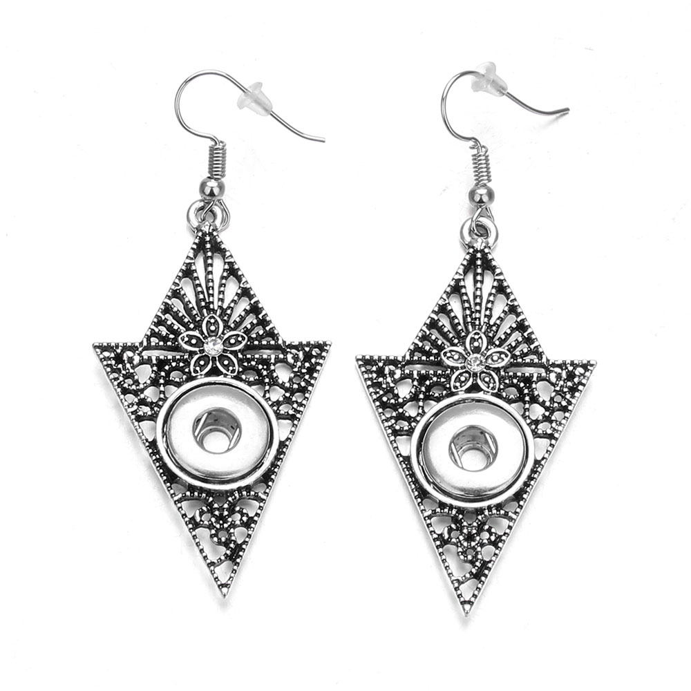 Fashion Women 12mm Snap Buttons Earrings Vintage Metal Triangle Crystal Dangle Earrings Jewelry 19Styles! image