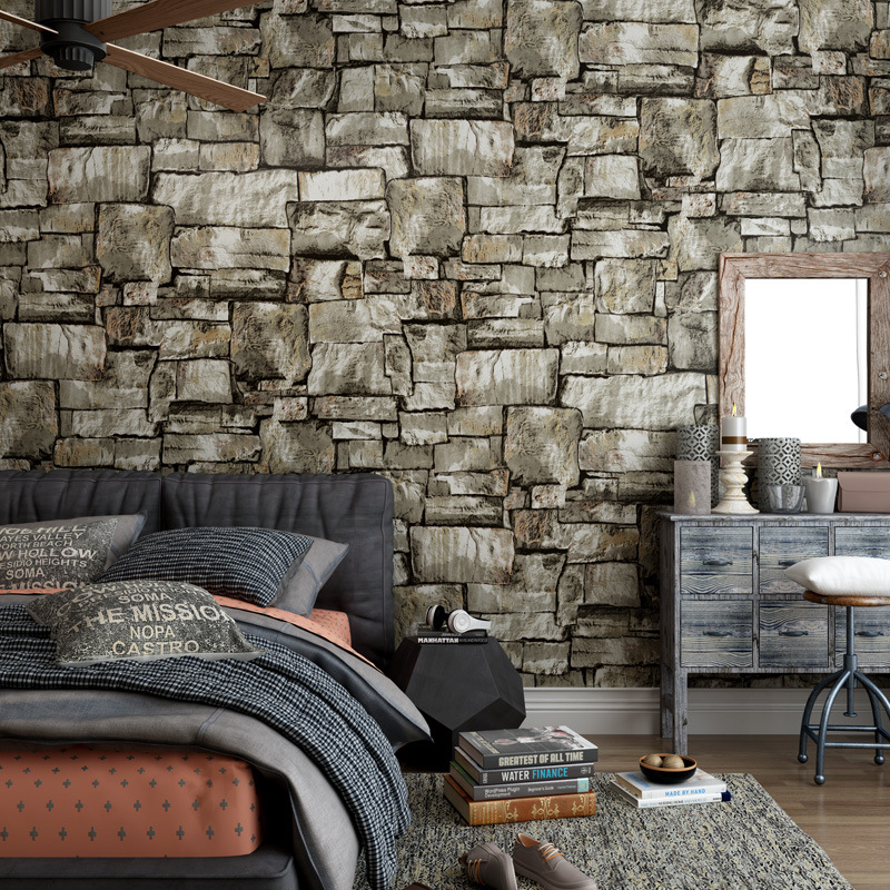 Vintage stone marble wallpaper study bar Cafe creative Brick pattern wall sticker pvc material waterproof wallpaper decoration in Wall Stickers from Home Garden