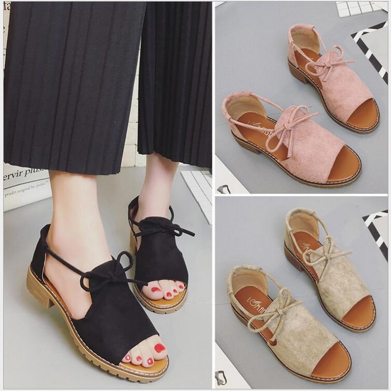 Summer flat Sandals Fish Mouth Women Sandals Flock Retro Low Heels Square Heel Woman Lace Up Shoe size 35-40 1