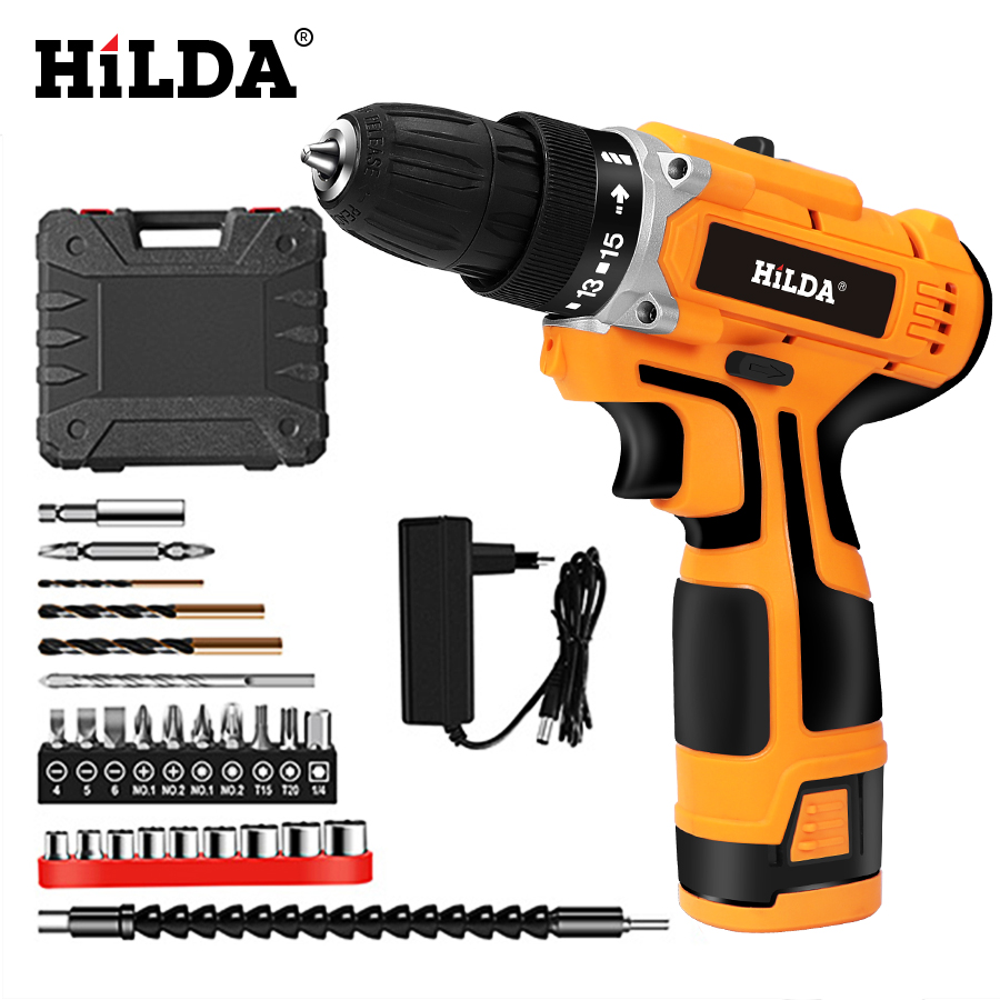 HILDA 16.8V Electric Drill With Rechargeable Lithium Battery Electric Screwdriver Cordless Screwdriver Two-speed Power Tools