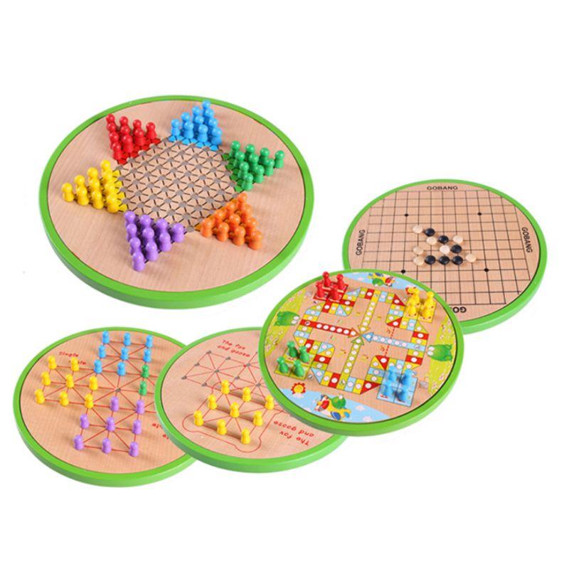 5 en 1 jeu d'échecs en bois jeu de damier chinois dames jouet éducatif enfants cadeau N28_E