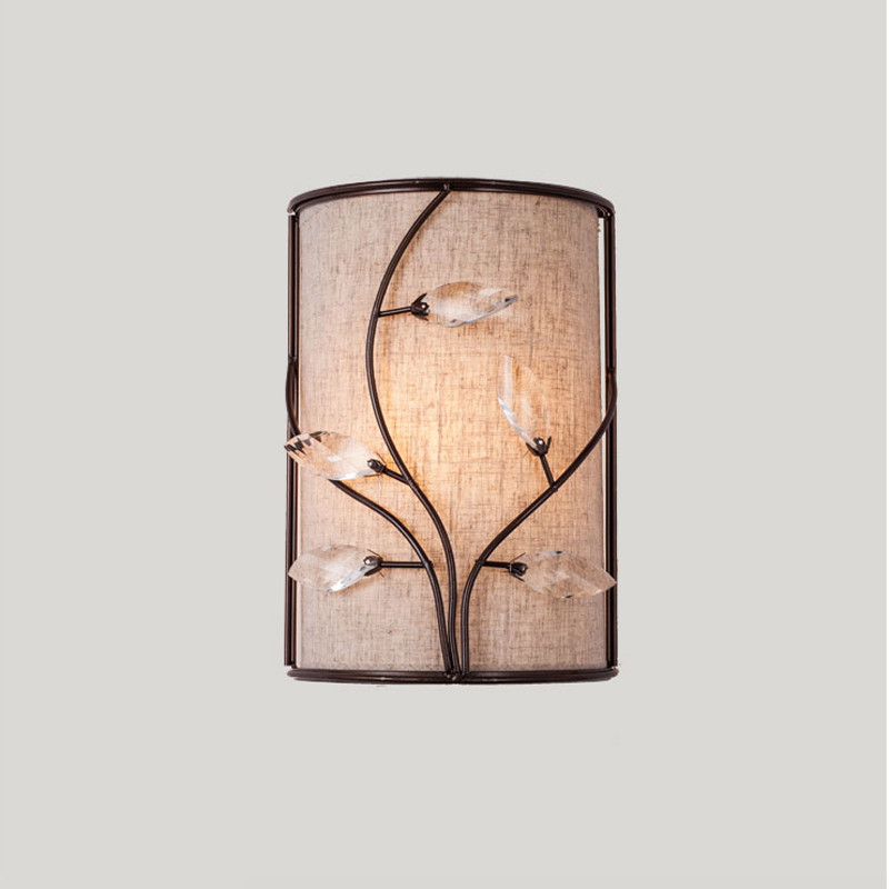 Free Shipping Rustic Vintage Branch Crystal Wall Sconces Lights Fixtures Bedroom Brown Metal Flower Lamps E14 X2