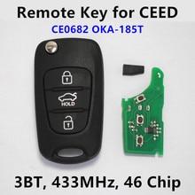 3 Кнопки Дистанционного Ключа Автомобиля для KIA Ceed Pro cee'd 433 МГц ID46 Чип Автозапуск Управления 2009-2012