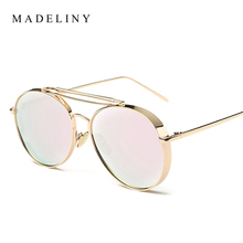 New Fashion Steampunk Sunglasses Women Coating Mirror Sun Glasses Unisex Brand Designer Vintage Men Sunglass UV400 F117