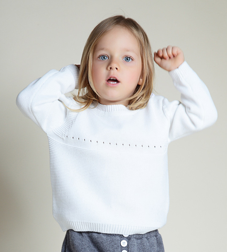 Baby Girls Knitted Sweaters Cute Cartoon Rabbit Newborn Infant Kids Pullovers White Casual O Neck Long Sleeve Kids Knitwear Grey 2018 spring and autumn new children girls sweaters casual o neck wool knitted clothes warm cashmere pullovers vest kids clothing