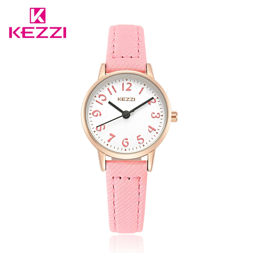 Fashion KEZZI Brand Lovely Children Watches Girls' Daily Waterproof Leather Cartoon Watch Quartz Wristwatches For Girls k1564 gift watch for girls lovely clay bear childlike wrist watch imported japan quartz children real leather cartoon relojes nw7052