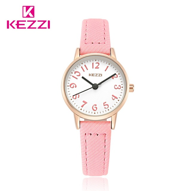 Fashion KEZZI Brand Lovely Children Watches Girls' Daily Waterproof Leather Cart