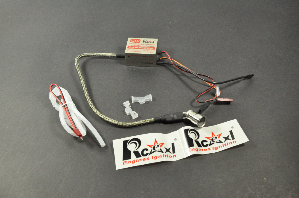 Rcexl Single Ignition CDI For NGK CM6 10mm Spark Plug 120 Degree DA DLE Gas Petrol Engine RC Airplane 6V-12V