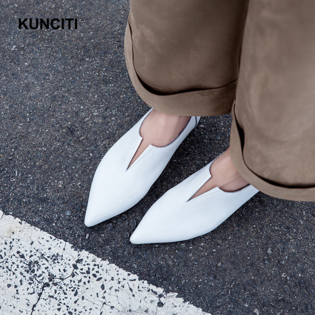 2018 V Neck Spring Soft Leather Flat Loafers European Designer Ladies Moccasins Women Casual Shoes Genuine Leather Spring Mules outlet latest collections how much cheap online NEV4q0dYtH
