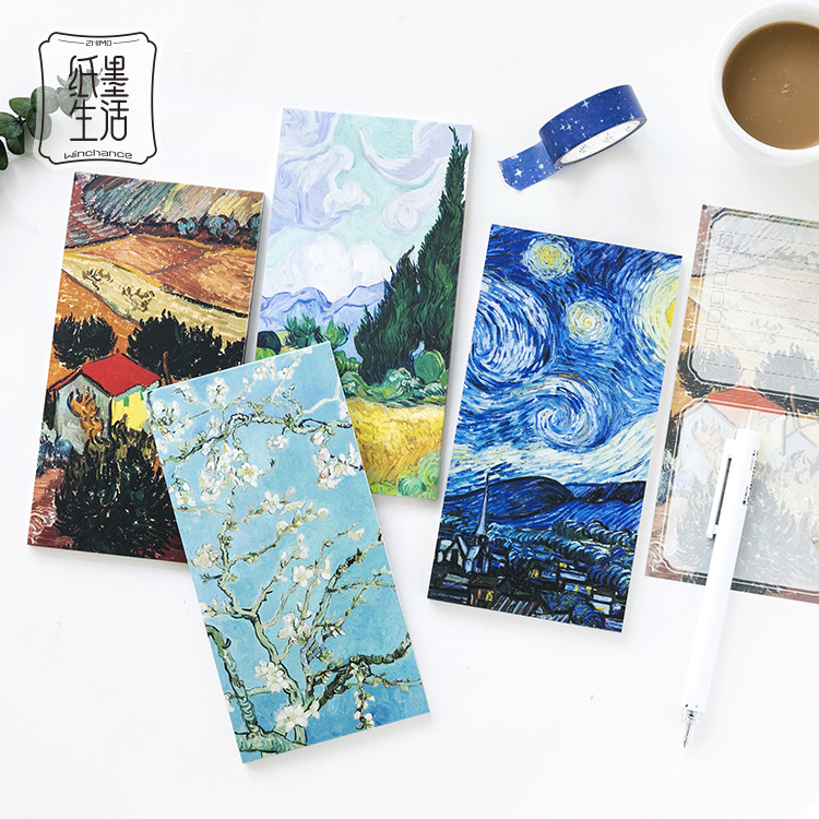 Van Gogh Series Print DIY Memo Pad Soft Cover Mini Notebook Diary Pocket Notepad Promotional Gift Stationery