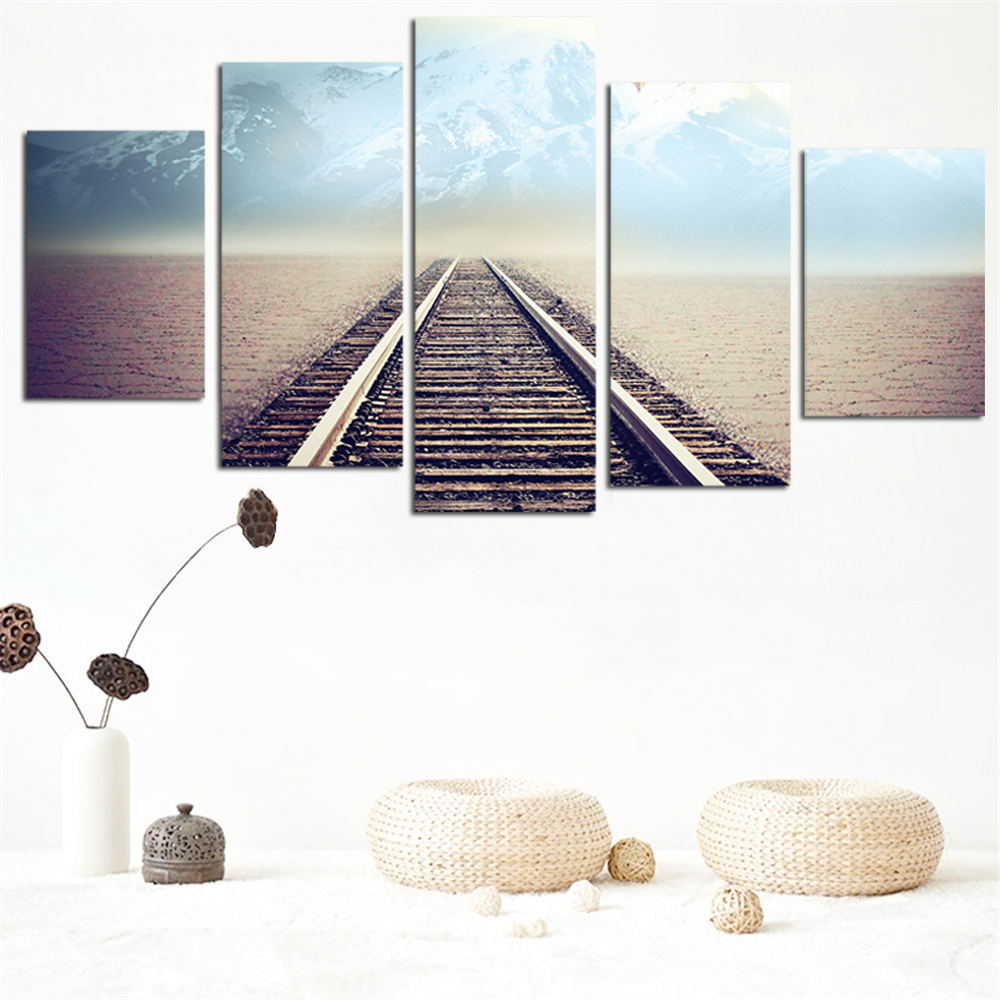 No Frame Oil Painting Railway Picture Canvas Painting Modern Wall Art Print Poster Rome Decor Wall Sticker Home Decoration 5pcs