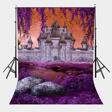 150x220cm River Beach View Backdrop Standing Castle Background Ultra Violet Color Flower