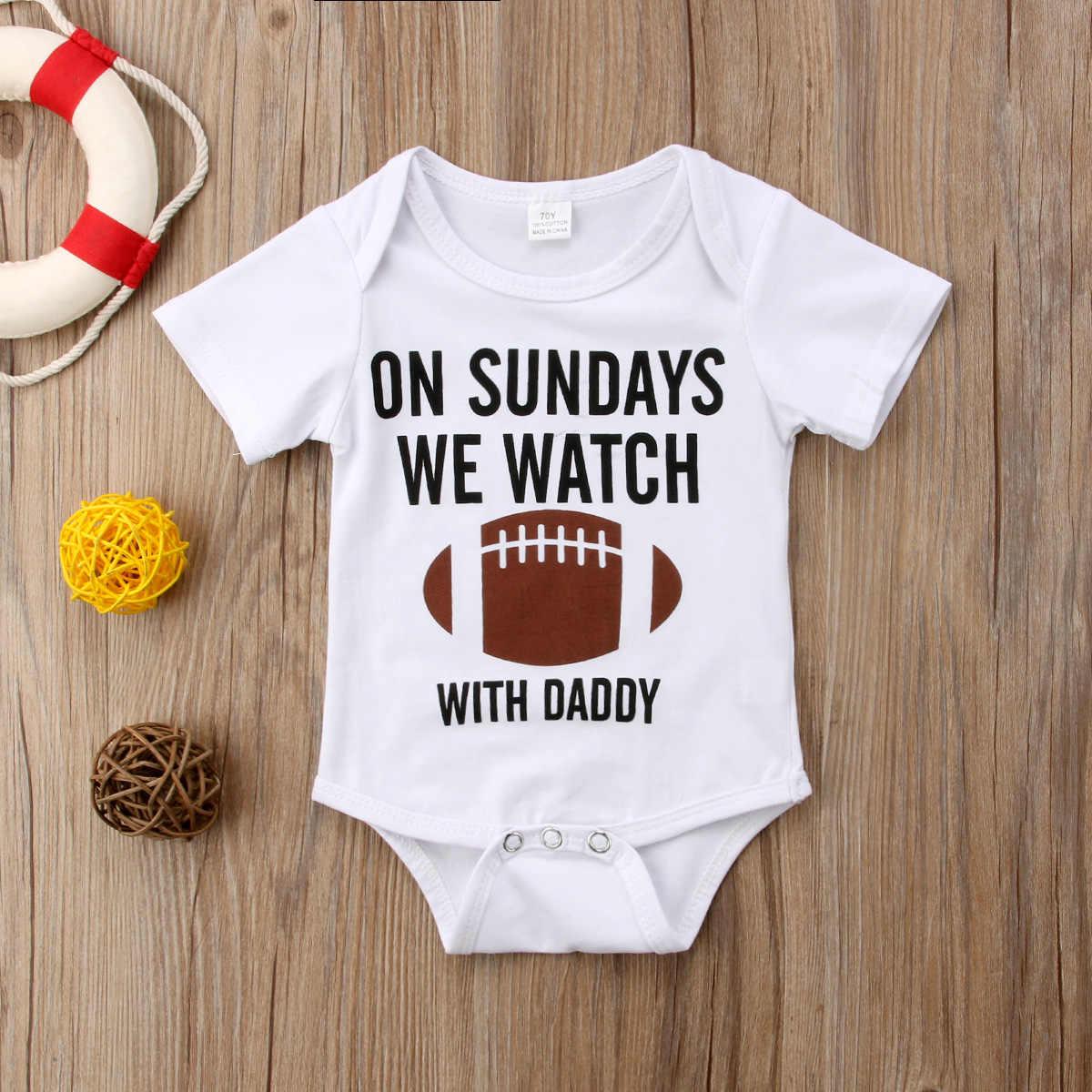 שעון בייסבול לבן הדפסת מכתבי תינוק תינוקת פעוט כותנה בגדי תלבושות סרבל Playsuit Romper בסך הכל