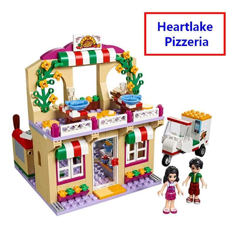 New Friends Heartlake Pizzeria Pizza Restaurant Building Blocks DIY Educational toys compatible with lego 41311 Free Shipping